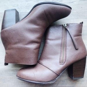 Report Brown Faux Leather Booties
